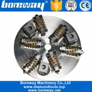 China Boreway 300mm 45S 6 Roller Bush Hammer Litchi Surface Grinding Plate Wheel Tool  Stone Granite Marble Concrete factory