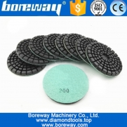 China Boreway 4inch thickened Diamond resin bond concrete polishing pads #200 floor Renew pads for concrete factory