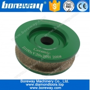 China D120*V20*20H continuous rim diamond profile grinding wheels for ceramic,ceramic diamond profiling wheels factory