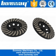 "China Hot Sell D100x5/8""-11 120# Double Layers Turbo Wave Cup Wheel For Granite factory"