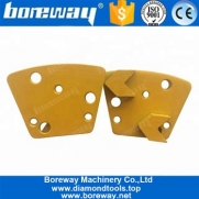China Metal Bond Concrete Floor Diamond Abrasive Pad With 6 Holes Two Arrow Shape Segments factory