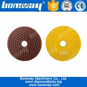 China Stone Grinding Wet Polish Diamond Pad 4Inch Flexible Diamond Polishing Pad For Granite Marble Stone factory