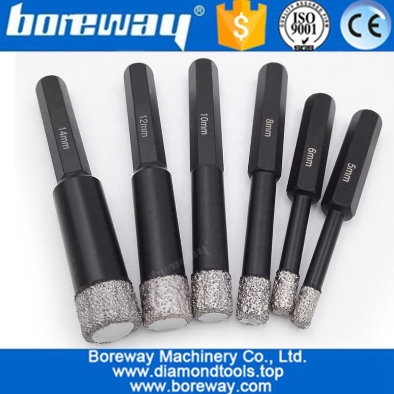 China 5mm 14mm Hex Shank Vacuum Brazed Diamond Core Drill